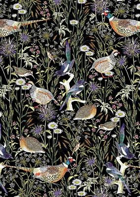 Daisies Drawing - Woodland Edge Birds by Jacqueline Colley