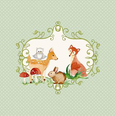 Painting - Woodland Fairytale - Animals Deer Owl Fox Bunny N Mushrooms by Audrey Jeanne Roberts