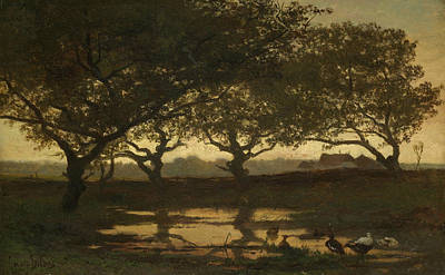 Tree At Sunset Painting - Woodland Pond At Sunset by Gerard Bilders