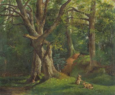 Painting - Woodland Scene With Rabbits by Treasury Classics Art