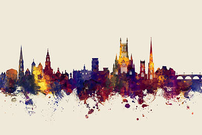 Digital Art - Worcester England Skyline by Michael Tompsett