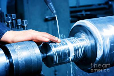 Industry Photograph - Worker Measuring On Industrial Turning Machine by Michal Bednarek