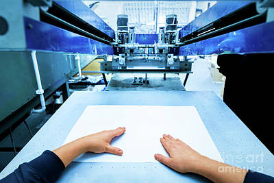 Steel Photograph - Worker Setting Print Screening Metal Machine by Michal Bednarek