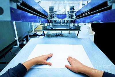 Screen Photograph - Worker Setting Print Screening Metal Machine by Michal Bednarek