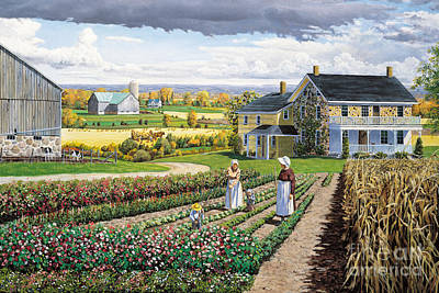 Cornstalks Painting - Working In The Garden by Roger Witmer