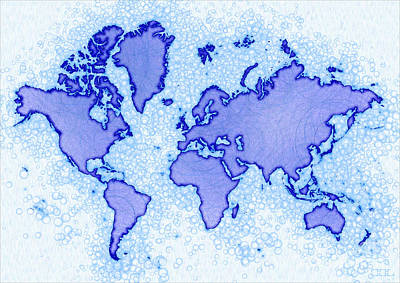 World Map Airy In Blue And White Art Print by Eleven Corners