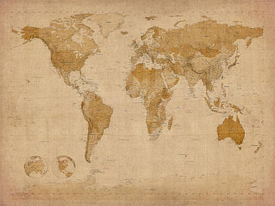 Print Digital Art - World Map Antique Style by Michael Tompsett