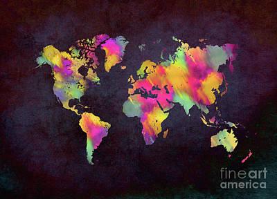 Map Of The World Digital Art - World Map Art by Justyna JBJart