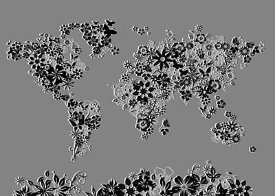 World Map Floral 5 Art Print