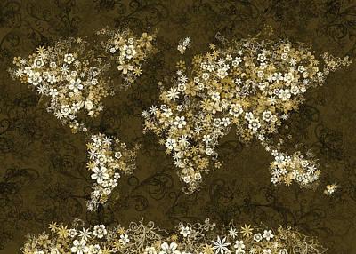 Abstract Map Digital Art - World Map Floral 8 by Bekim Art