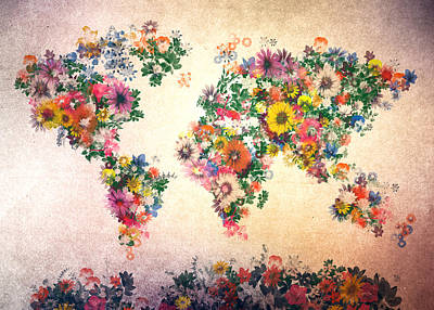 Mapping Painting - World Map Floral 9 by Bekim Art