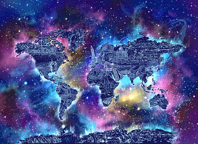 World Map Galaxy 4 Art Print by Bekim Art