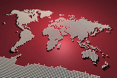 3d World Map Digital Art - World Map In Red by Michael Tompsett