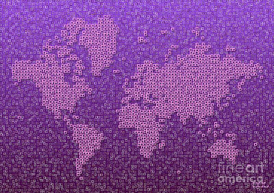Digital Art - World Map Kotak In Purple by Eleven Corners