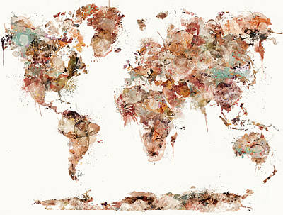 Print featuring the painting World Map Watercolors by Bri B