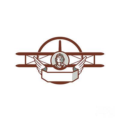 World War One Digital Art - World War 1 Pilot Airman Spad Biplane Circle Retro by Aloysius Patrimonio
