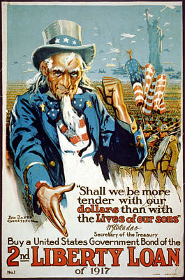 World War I, Poster Showing Uncle Sam Art Print by Everett