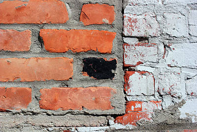 Photograph - Worn Brick Wall 5 by Mary Bedy