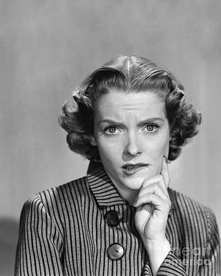 Contemplative Photograph - Worried Woman, C.1950-60s by Debrocke/ClassicStock