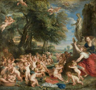 Archangel Painting - Worship Of Venus by Peter Paul Rubens