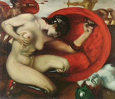 Amazon Painting - Wounded Amazon by Franz von Stuck