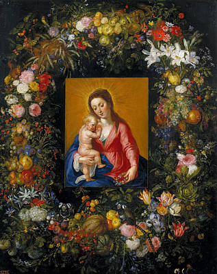Child Jesus Painting - Wreath With Madonna And Child by Jan Brueghel the Elder