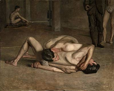Male Painting - Wrestlers by Celestial Images