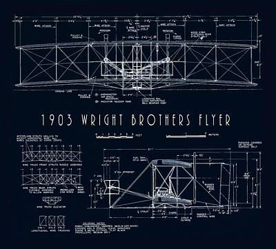 Flyers Digital Art - Wright Bros Flyer Aeroplane Blueprint  1903 by Daniel Hagerman