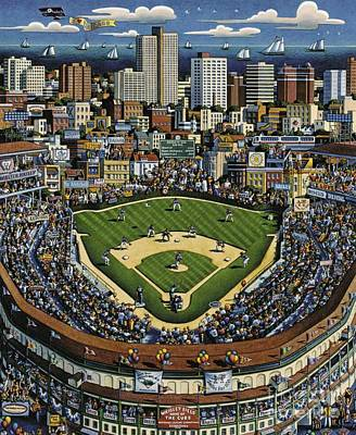 Chicago Cubs Field Painting - Wrigley Field by Blackwater Studio