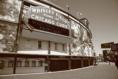 Baseball Mural Photograph - Wrigley Field - Chicago Cubs by Frank Romeo