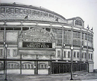 Chicago Baseball Drawing - Wrigley Field by Juliana Dube