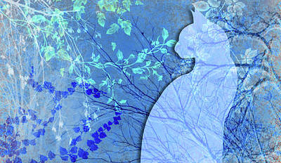 Digital Art - Wuthering Heights, Bright Blues by Nancy Lorene