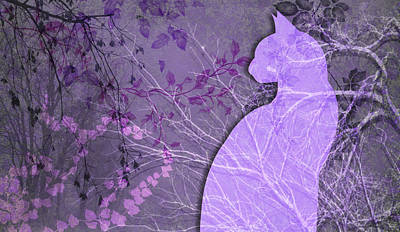 Digital Art - Wuthering Heights, Cool Purples by Nancy Lorene