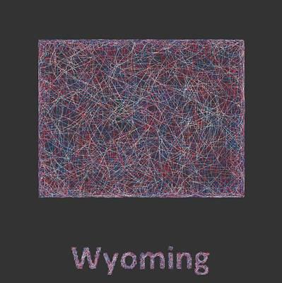 Wyoming Line Art Map Art Print