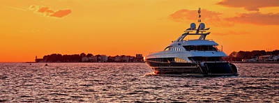 Photograph - Yachtig On Open Sea At Golden Sunset Panoramic View by Brch Photography