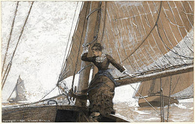 Winslow Homer Drawing - Yachting Girl by Winslow Homer
