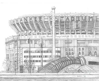 Yankee Stadium Drawing - Yankee Stadium by Juliana Dube