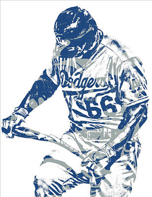 Los Angeles Dodgers Mixed Media - Yasiel Puig Los Angeles Dodgers Pixel Art 10 by Joe Hamilton