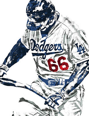 Baseball Art Mixed Media - Yasiel Puig Los Angeles Dodgers Pixel Art by Joe Hamilton