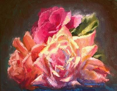 Yellow And Pink Roses Art Print