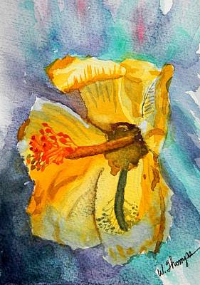 Shadows Painting - Yellow Hibiscus Shadows by Warren Thompson