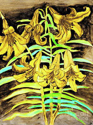Painting - Yellow Lilies, Hand Drawn Painting by Irina Afonskaya