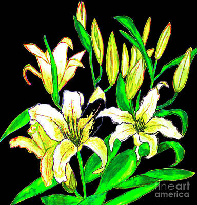 Painting - Yellow Lilies, Painting by Irina Afonskaya
