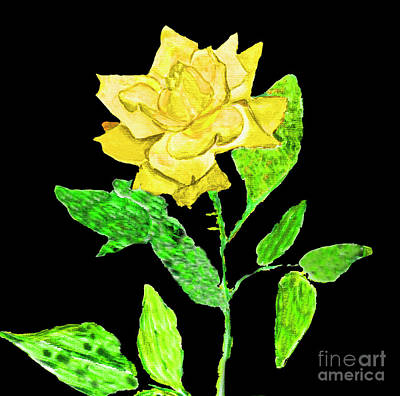Painting - Yellow Rose, Painting by Irina Afonskaya