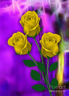 Valentine Day Mixed Media - Yellow Roses Collection by Marvin Blaine