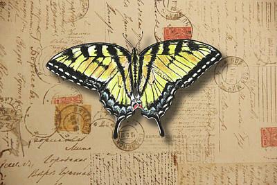 Mixed Media - Yellow Swallowtail Butterfly by Masha Batkova
