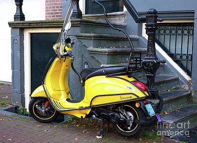 Photograph - Yellow Vespa In Amsterdam by John Rizzuto