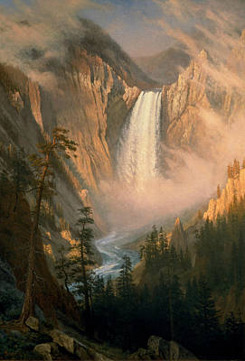 Albert Bierstadt Painting - Yellowstone Falls by Albert Bierstadt