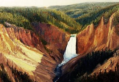 The Grand Canyon Of The Yellowstone Painting - Yellowstone Falls by Tom Siebert