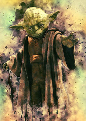 Character Portraits Digital Art - Yoda by Taylan Apukovska